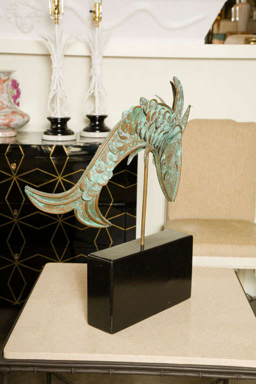 Mid-Century Metal Fish Sculpture In Good Condition For Sale In Los Angeles, CA