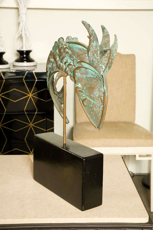 Wood Mid-Century Metal Fish Sculpture For Sale