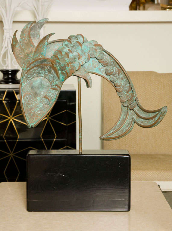 Mid-Century Metal Fish Sculpture For Sale 2