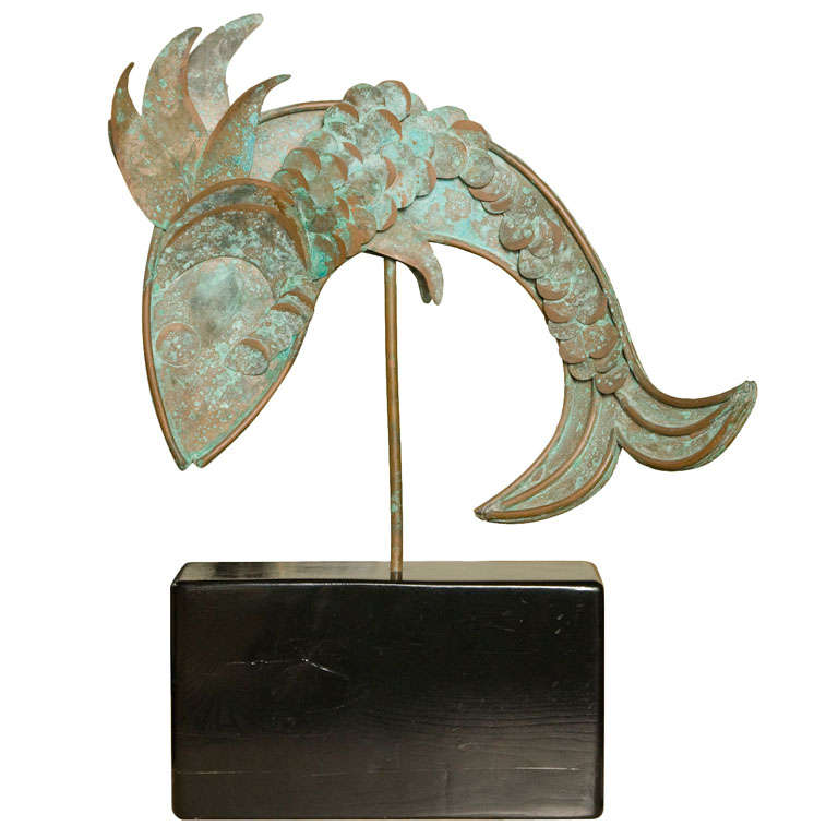 Mid century metal fish sculpture for sale at 1stdibs for Metal fish art