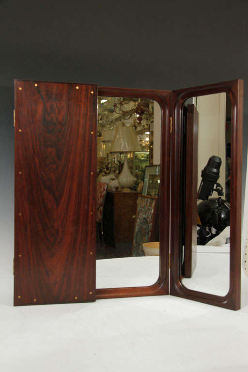 Danish Mid Century Modern Rosewood Trifold Wall Or Vanity