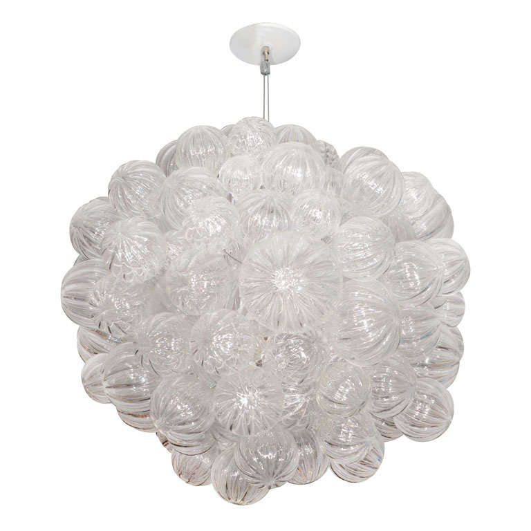 Large glass bubble chandelier with clear handblown bubbles at 1stdibs mozeypictures Image collections