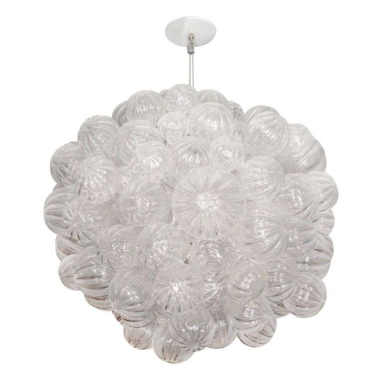 Glass Bubble Chandelier with Clear Handblown Bubbles