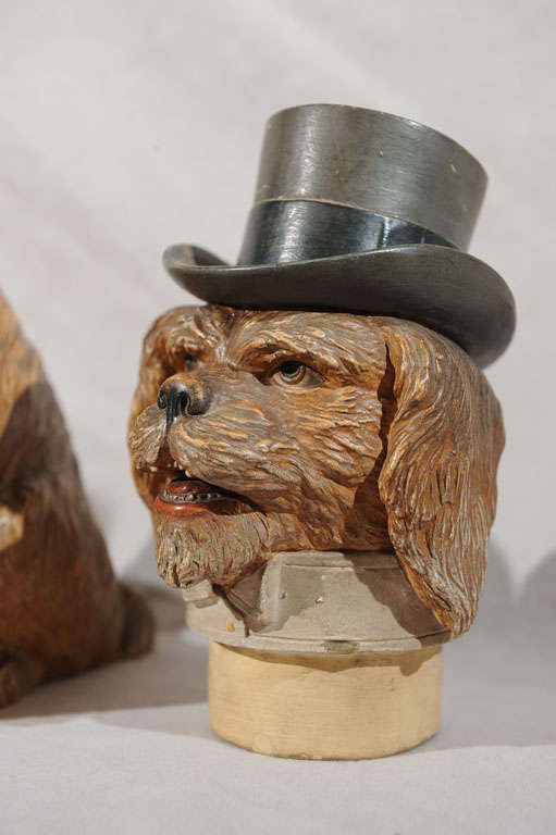 terra cotta humidor of a dog in top hat at 1stdibs. Black Bedroom Furniture Sets. Home Design Ideas