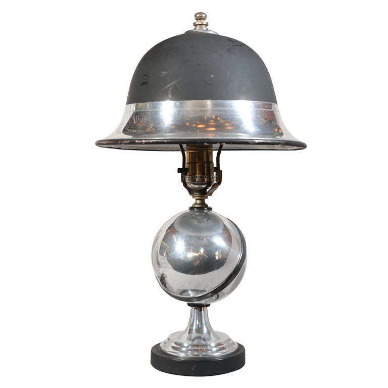 art deco helmet shade lamp at 1stdibs. Black Bedroom Furniture Sets. Home Design Ideas