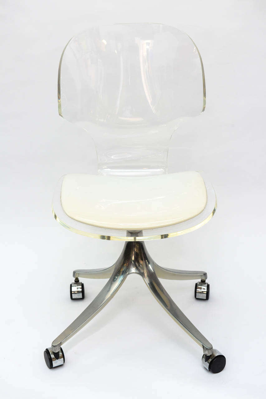 Astonishing Stunning 1960S Lucite Desk Chair On Chrome Swivel Base At Machost Co Dining Chair Design Ideas Machostcouk