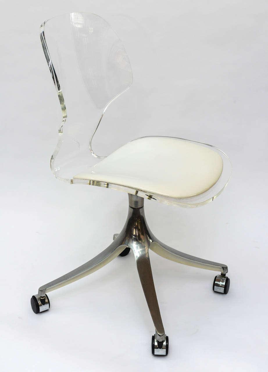 Stunning 1960 s Lucite Desk Chair on Chrome Swivel Base at