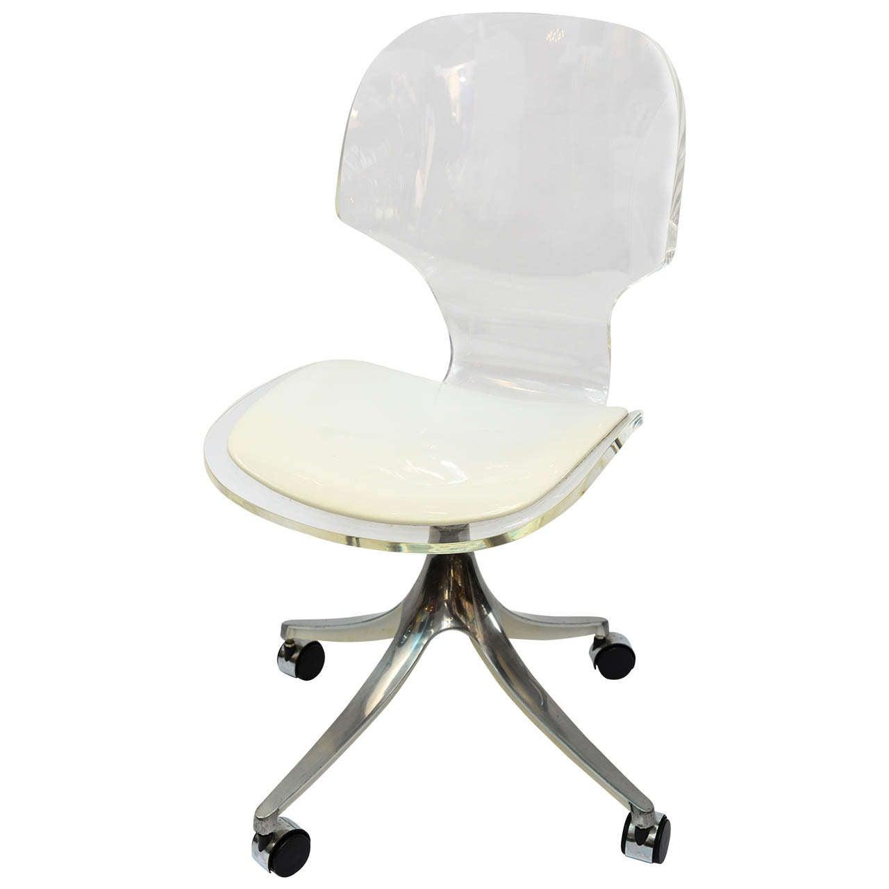 Stunning 1960 S Lucite Desk Chair On Chrome Swivel Base For