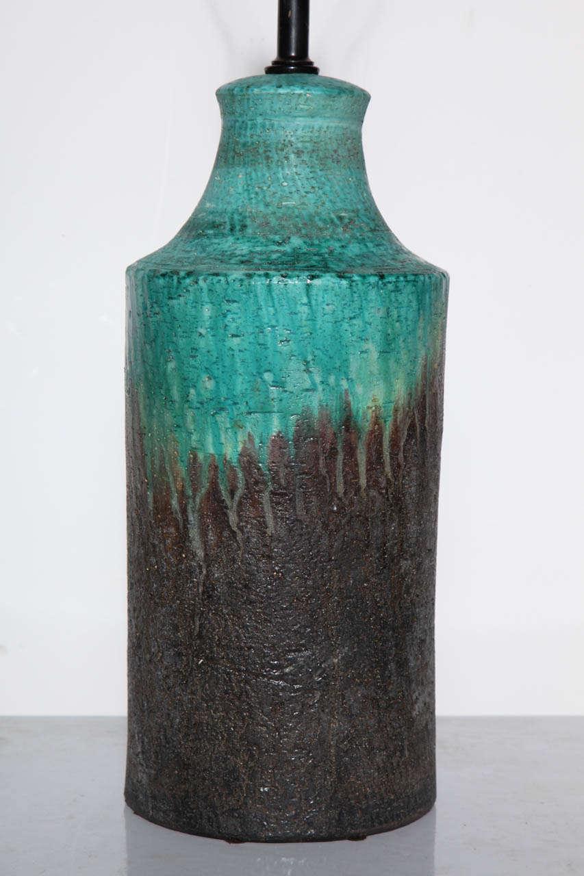 Glazed Marcello Fantoni Turquoise and Lava Drip Glaze Ceramic Table Lamp, 1950s For Sale