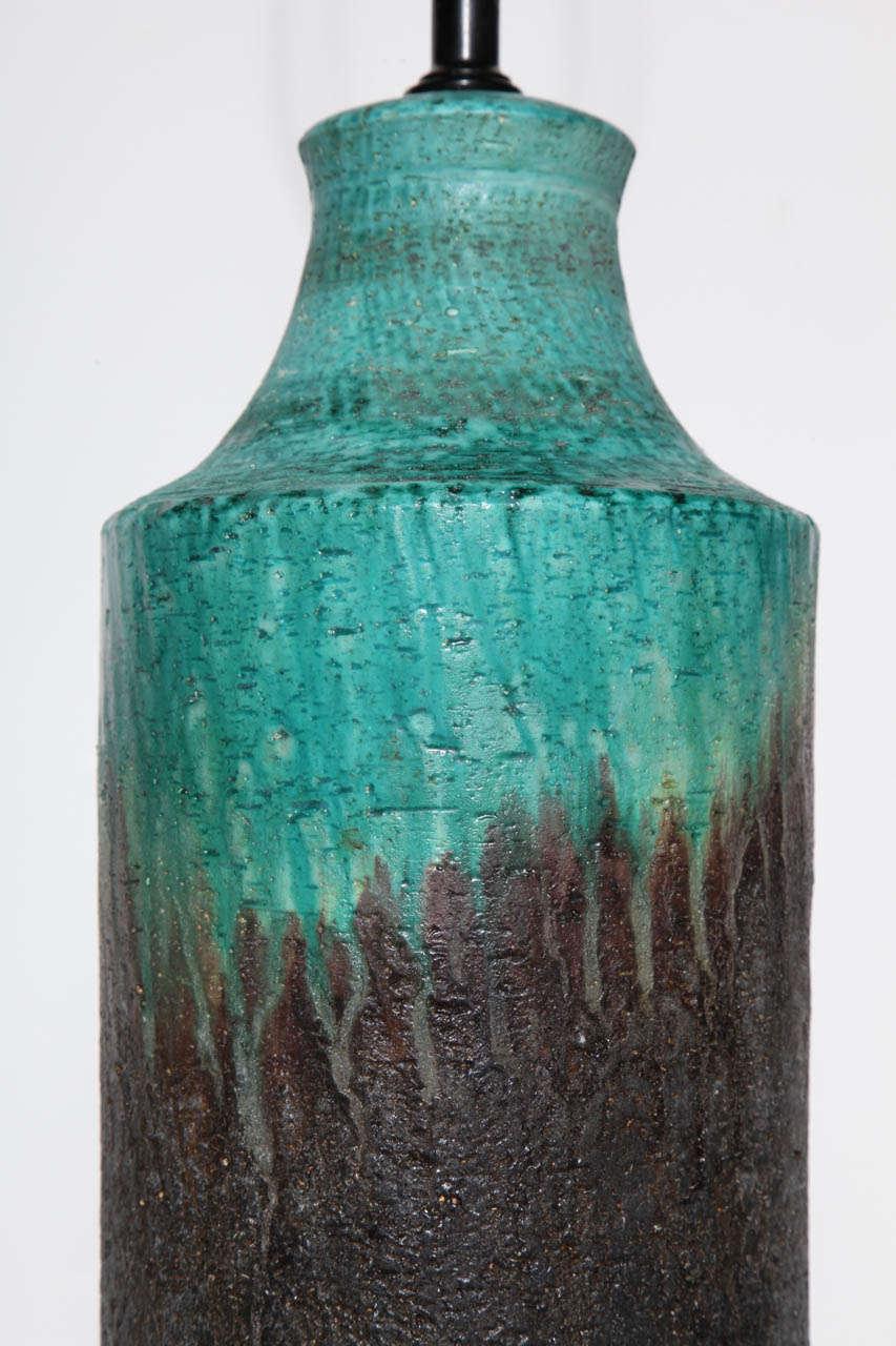 Marcello Fantoni Turquoise and Lava Drip Glaze Ceramic Table Lamp, 1950s In Good Condition For Sale In Bainbridge, NY