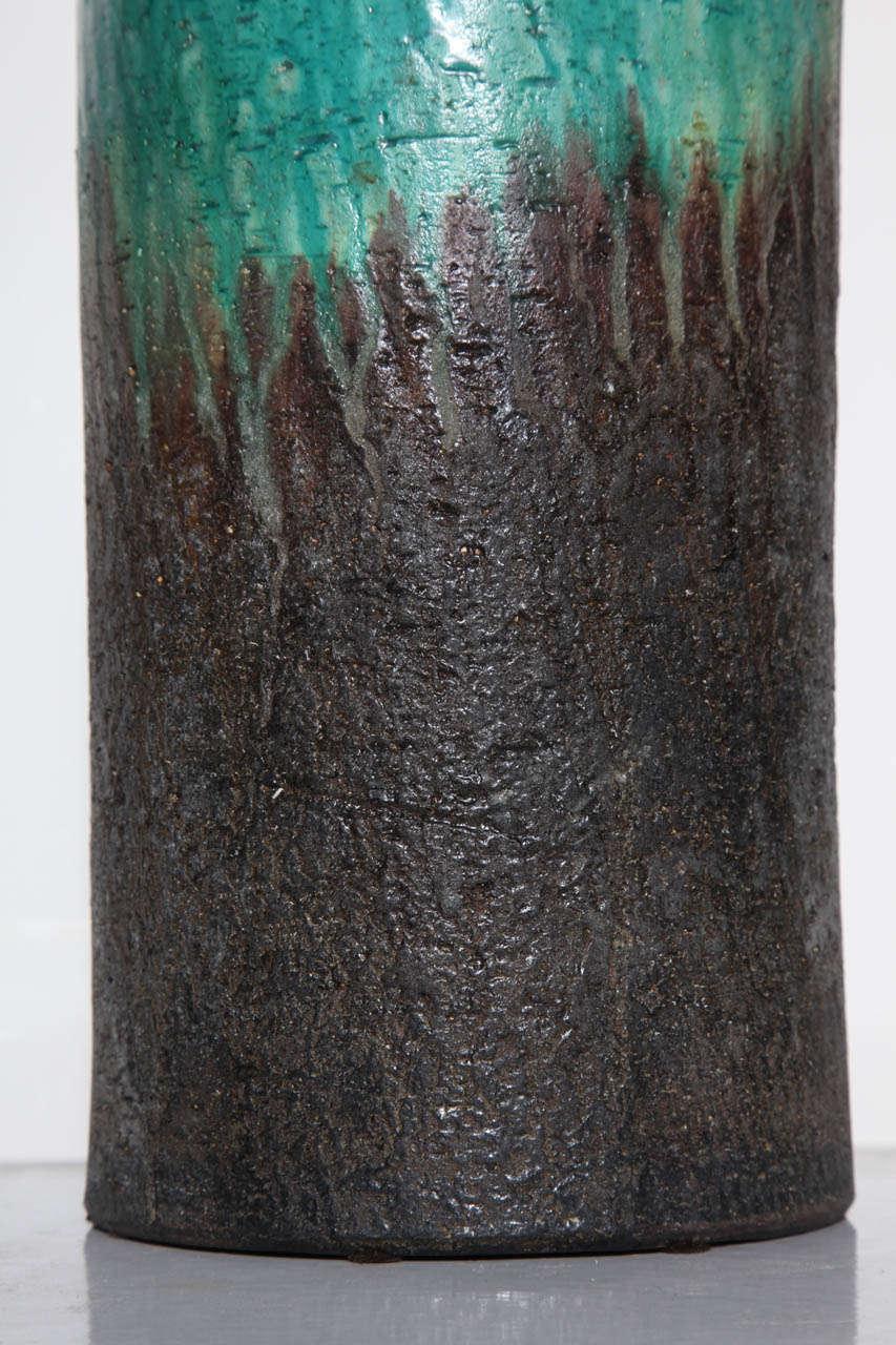 Mid-20th Century Marcello Fantoni Turquoise and Lava Drip Glaze Ceramic Table Lamp, 1950s For Sale