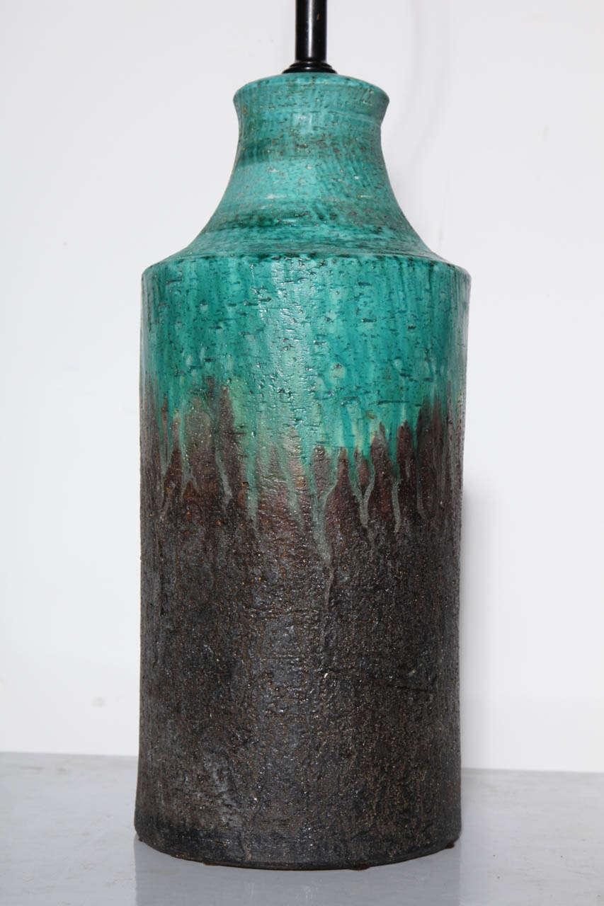 Metal Marcello Fantoni Turquoise and Lava Drip Glaze Ceramic Table Lamp, 1950s For Sale