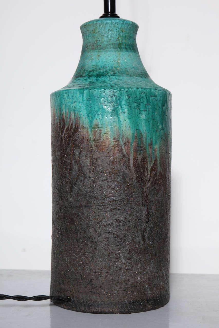 Marcello Fantoni Turquoise and Lava Drip Glaze Ceramic Table Lamp, 1950s For Sale 1