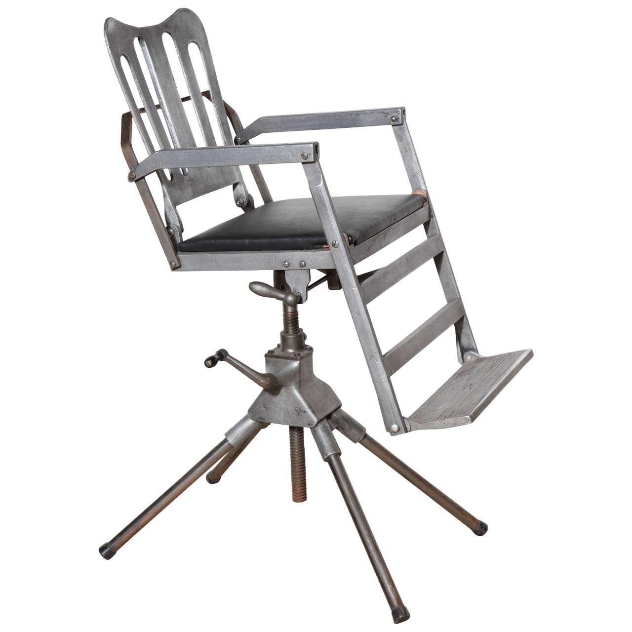 1920s Iron, Cast Aluminum And Leather Military Medical Chair U0027Recline U0026 Foldu0027  For