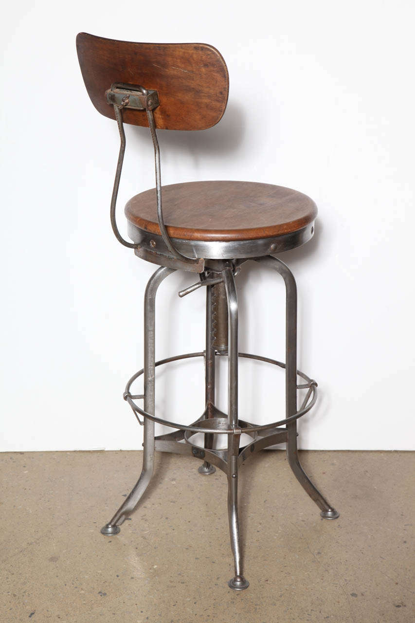 Tall Vintage Toledo Stool With Back At 1stdibs