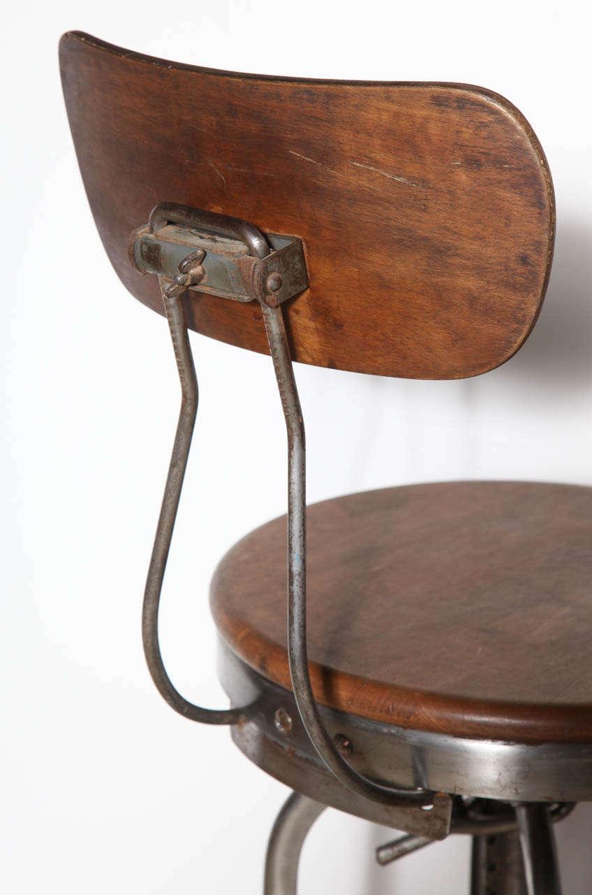 Tall Vintage Toledo Stool With Back At 1stdibs
