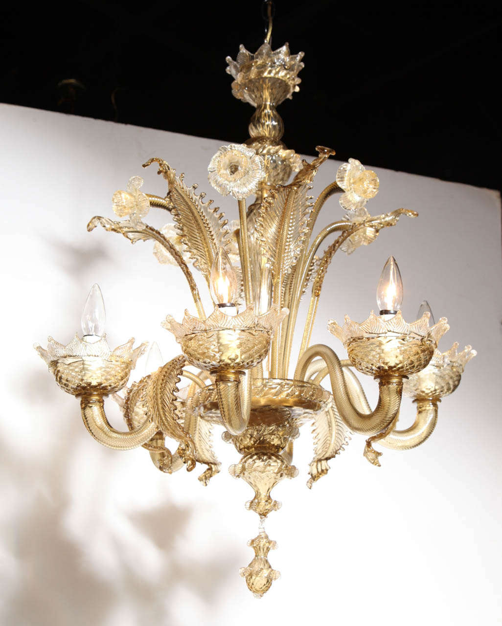 1950s seguso vetri darte pale amber botanical six branch mid century neo classical venetian murano translucent amber flower and leaf chandelier featuring a arubaitofo Choice Image