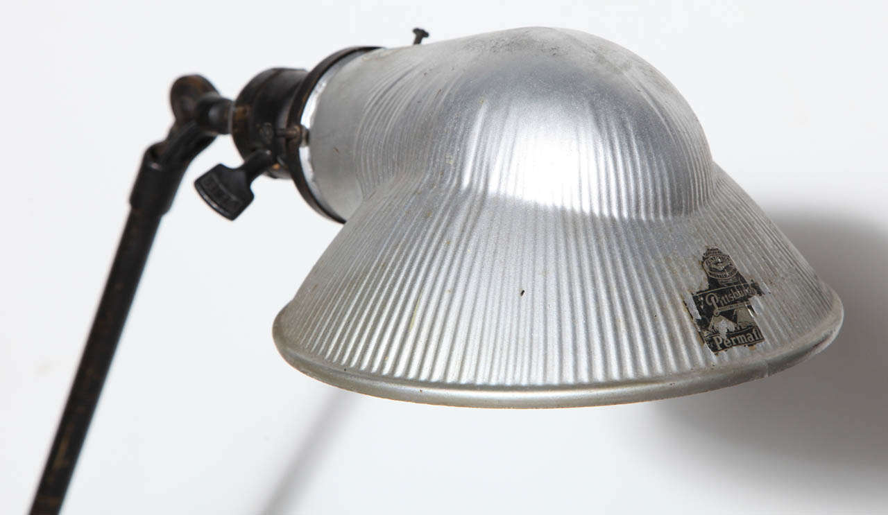 20th Century O. C. White Brass & Iron Adjustable Table Lamp with Mercury Glass Shade, C. 1900 For Sale
