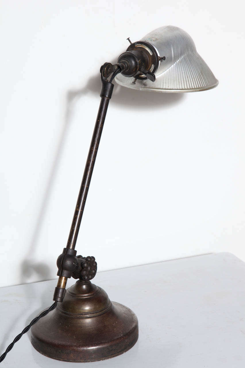 Industrial O. C. White Brass & Iron Adjustable Table Lamp with Mercury Glass Shade, C. 1900 For Sale