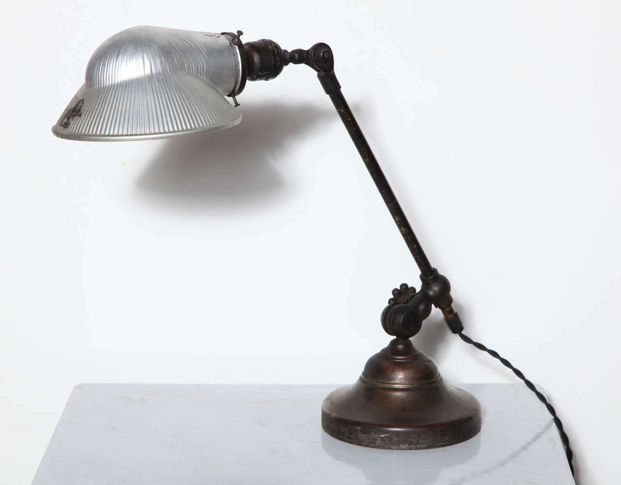O. C. White Brass & Iron Adjustable Table Lamp with Mercury Glass Shade, C. 1900 For Sale 3