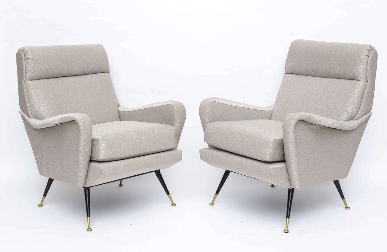 Pair of Italian Brass Enameled and Upholstered Armchairs, Style Carlo de Carli In Excellent Condition For Sale In Miami, FL