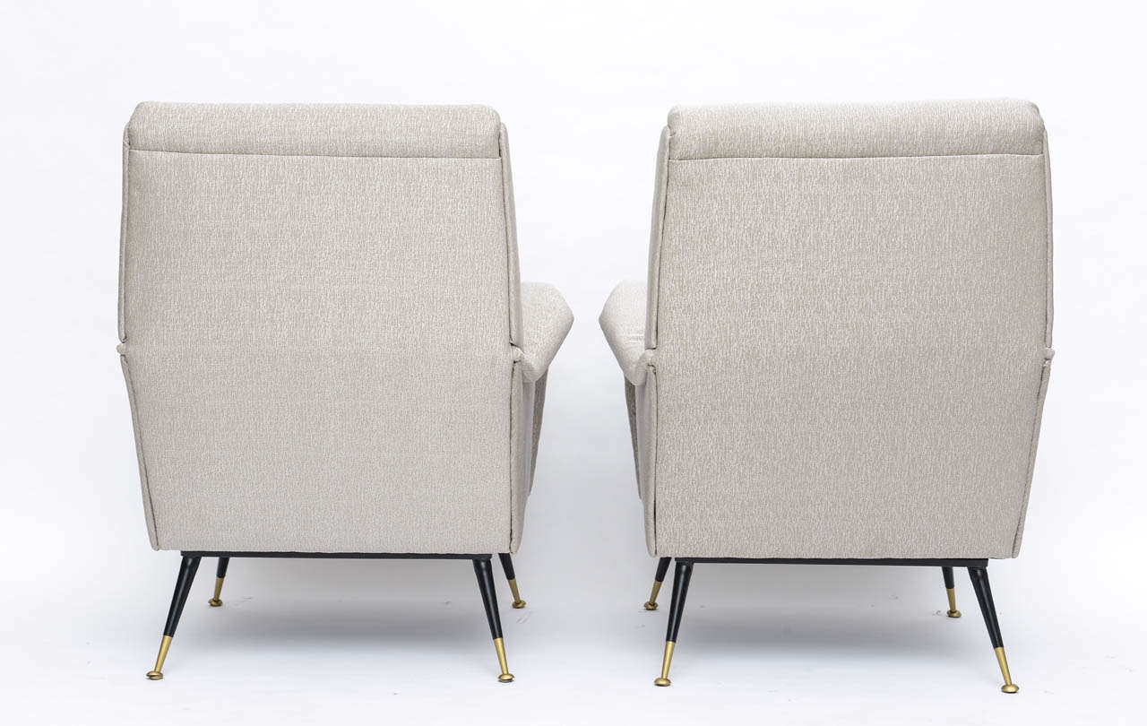 Pair of Italian Brass Enameled and Upholstered Armchairs, Style Carlo de Carli For Sale 2