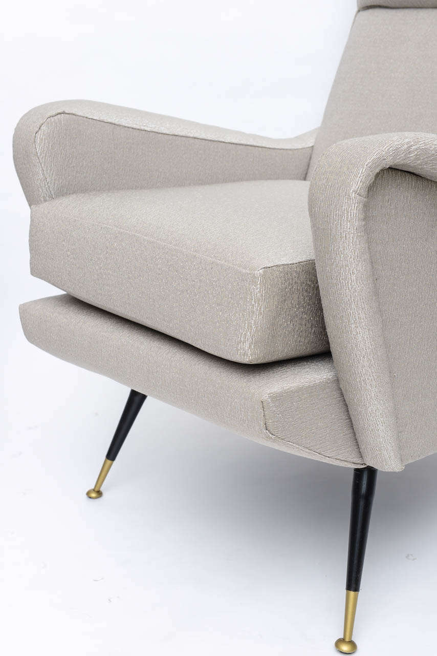Pair of Italian Brass Enameled and Upholstered Armchairs, Style Carlo de Carli For Sale 4