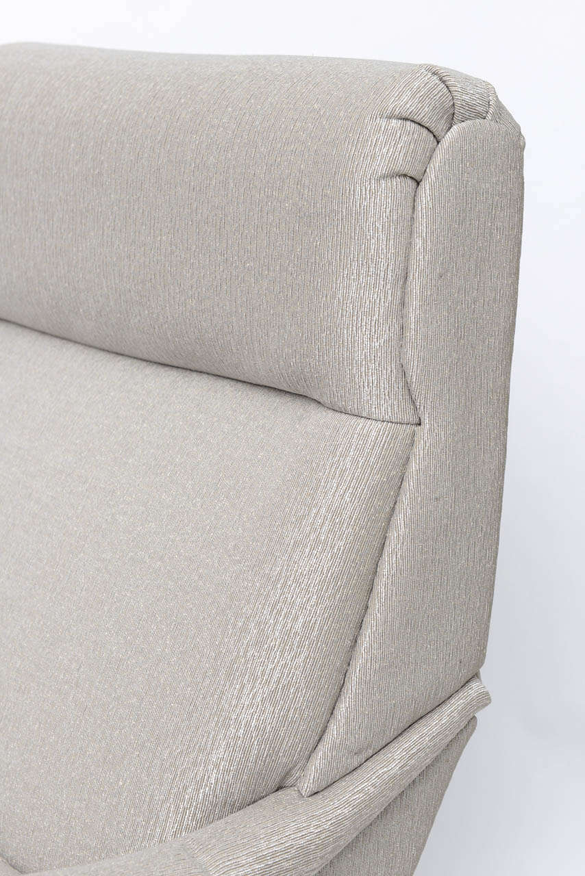 Pair of Italian Brass Enameled and Upholstered Armchairs, Style Carlo de Carli For Sale 5