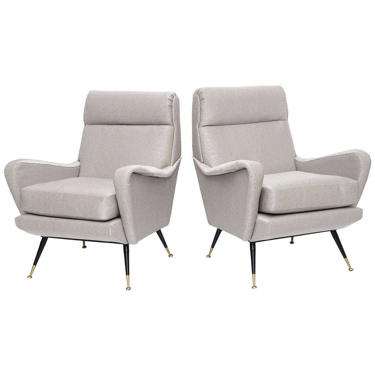 Pair of Italian Brass Enameled and Upholstered Armchairs, Style Carlo de Carli