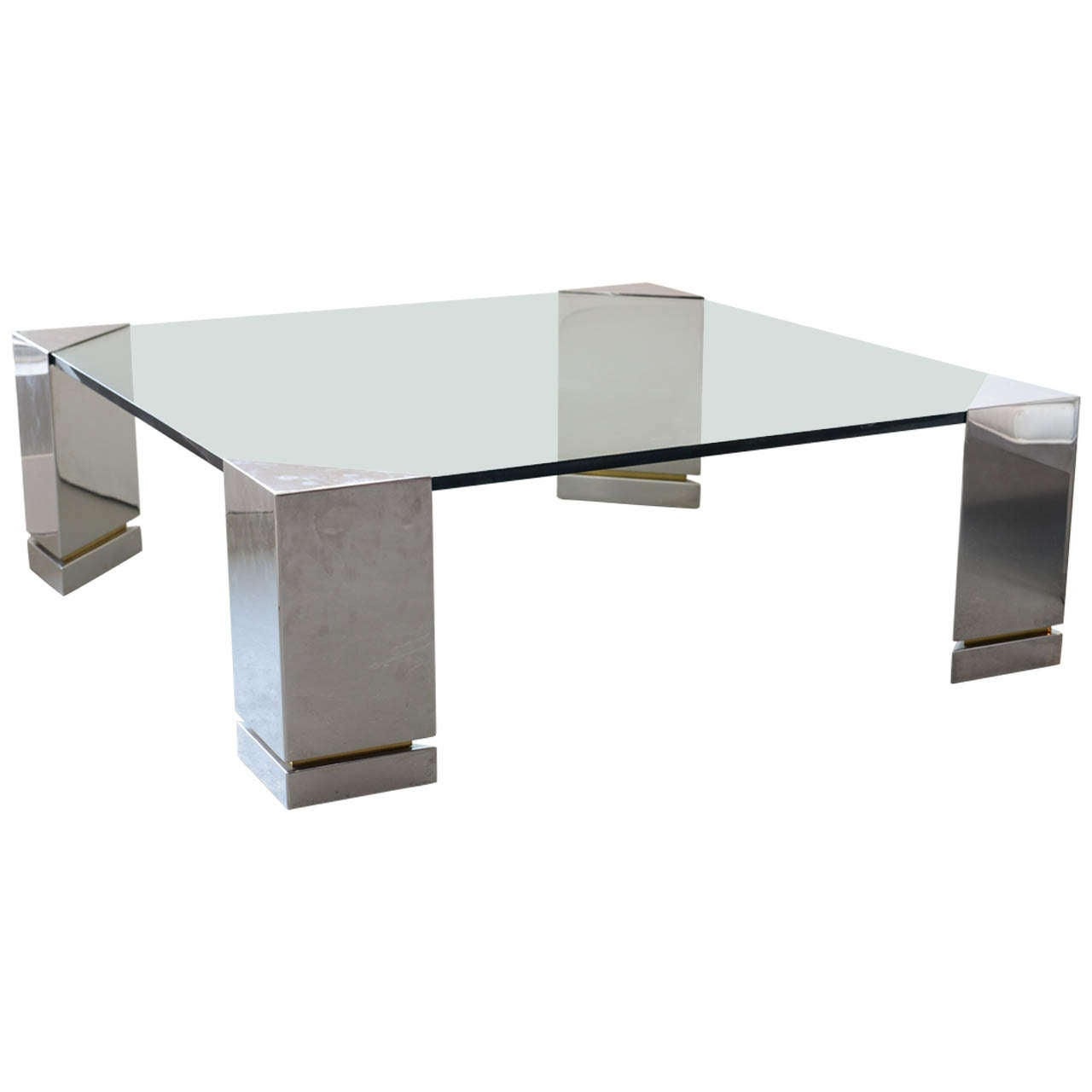 Brueton Polished Chrome and Glass Low Table, USA