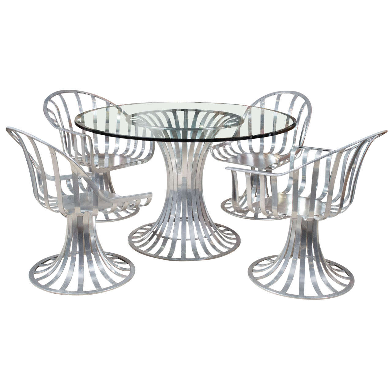 Russell woodard aluminum patio furniture table two chairs for sale