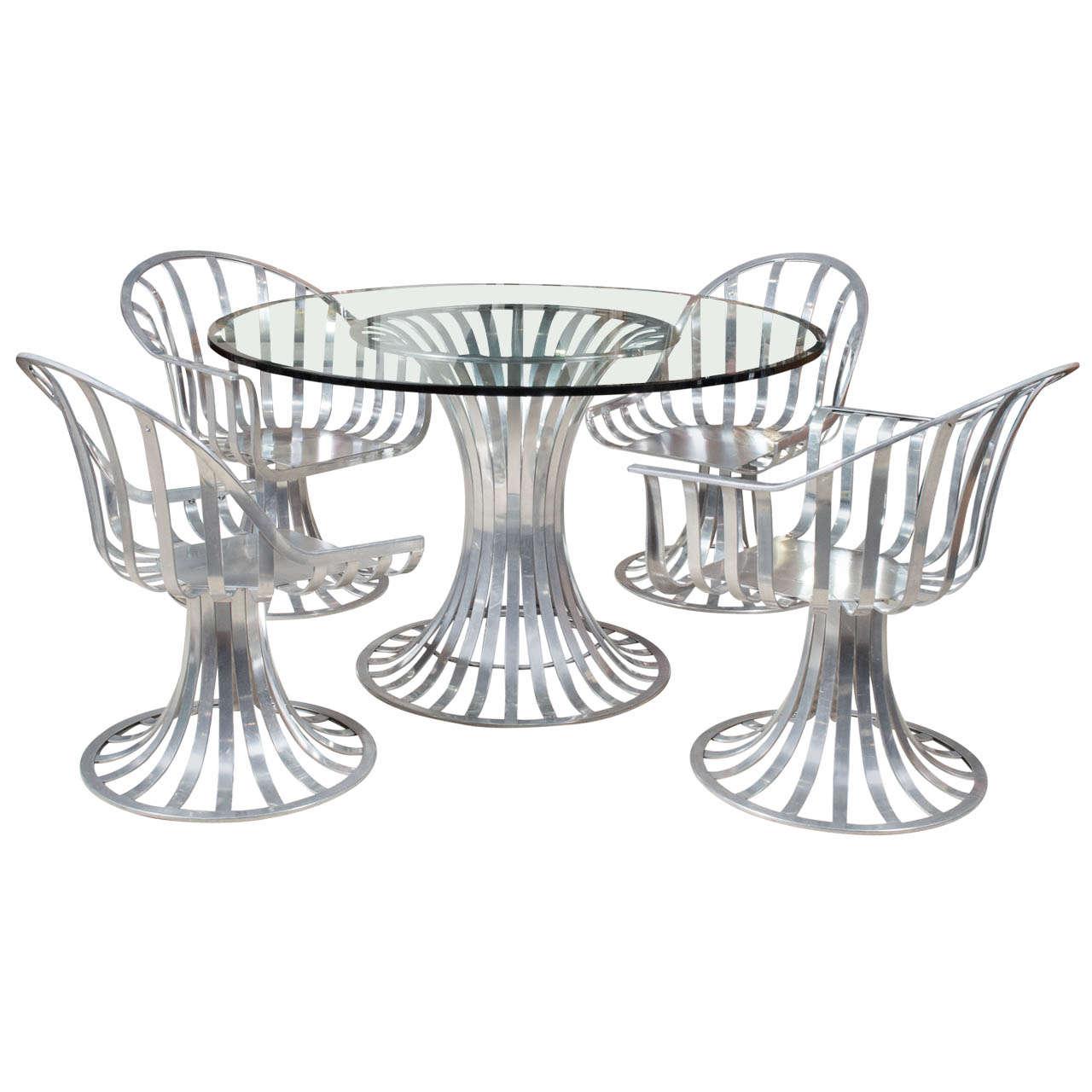Russell Woodard Aluminum Patio Furniture Table And Two Chairs At - Woodard aluminum patio furniture