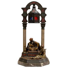 Cold Painted Vienna Bronze Arab Lamp
