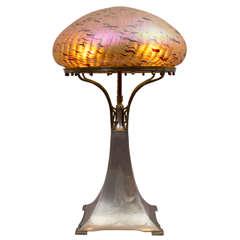 Art Nouveau Table Lamp, Austrian Glass