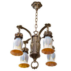 Art Nouveau Chandelier with Blue Pulled Feather Shades by Quezal