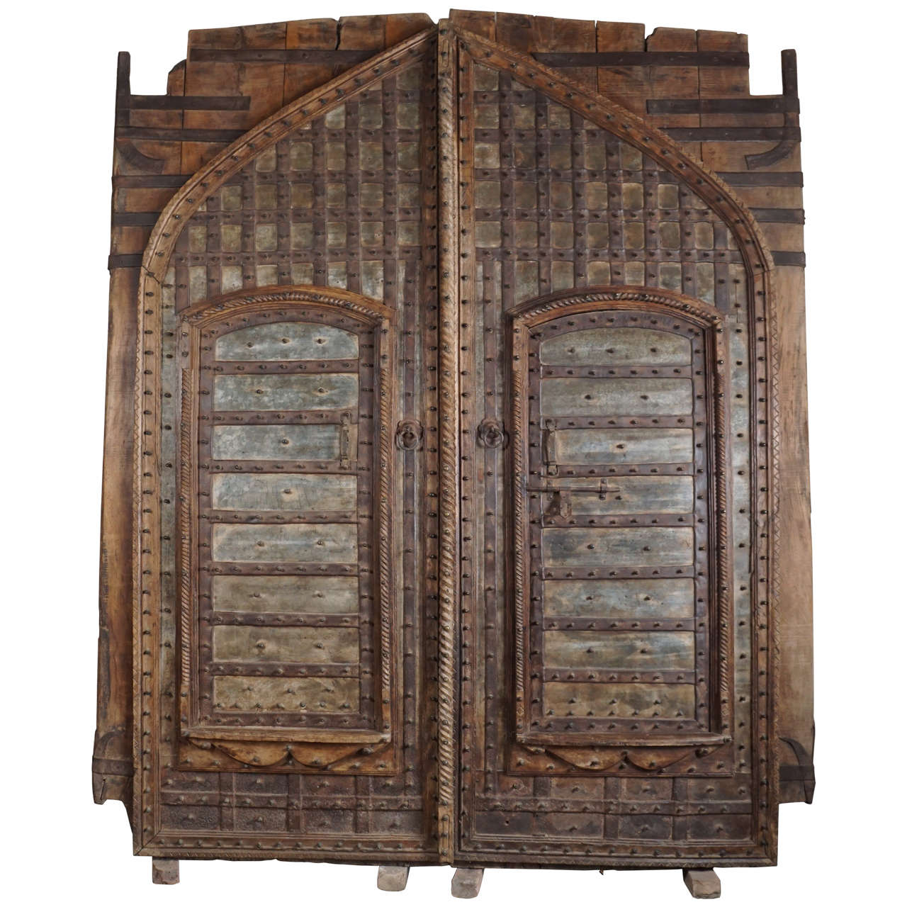 Monumental 19th Century Teak and Iron Fortress Doors