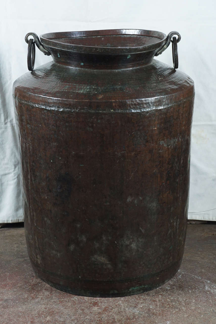 Large hand-hammered heavy duty copper pots from Northern India.  QTY 3: $2400/ item or $5650 for all three.