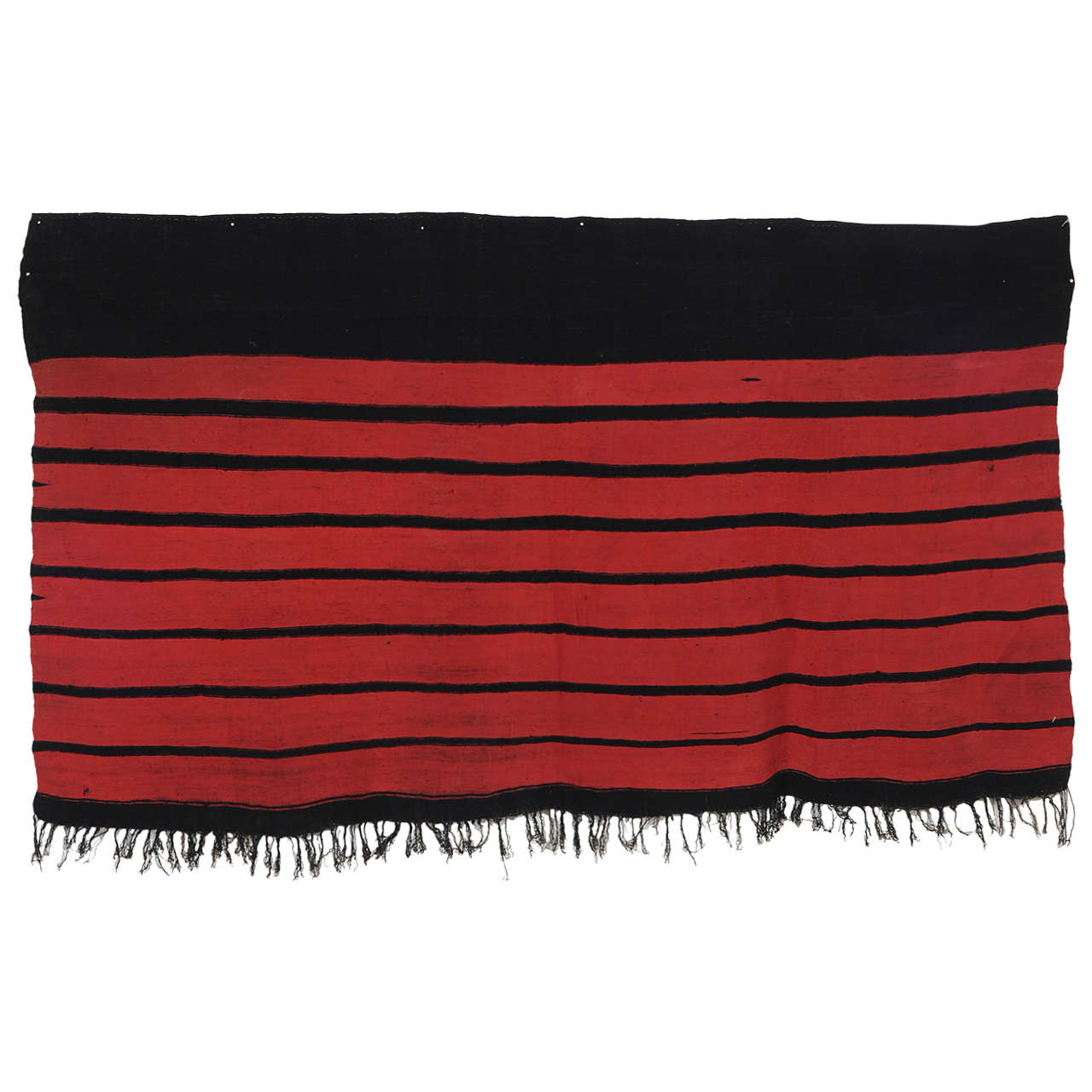 Vintage Algerian Silk and Wool Shawl with Stripes