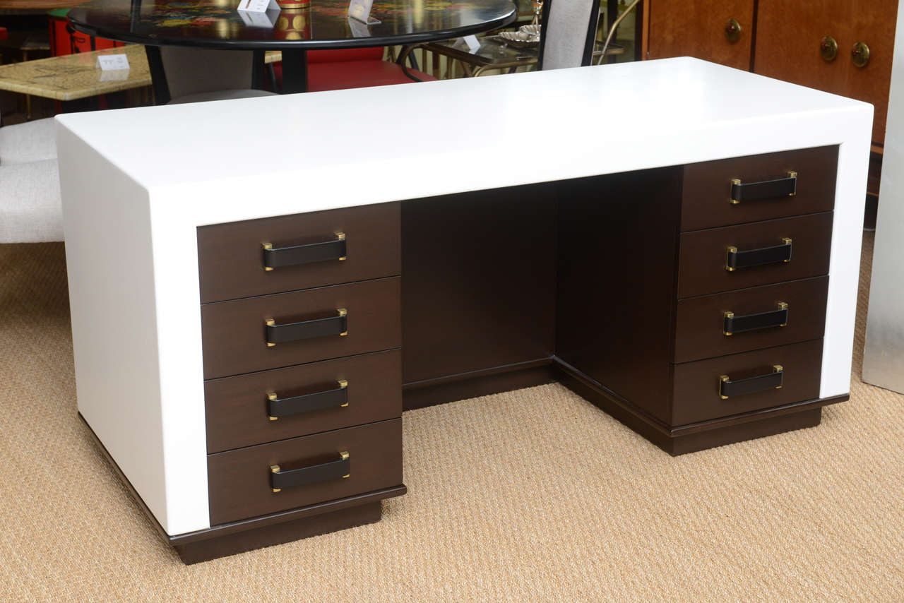 Rare Paul Frankl designed eight-drawer desk for the Johnson Furniture Co. of Grand Rapids, Michigan.