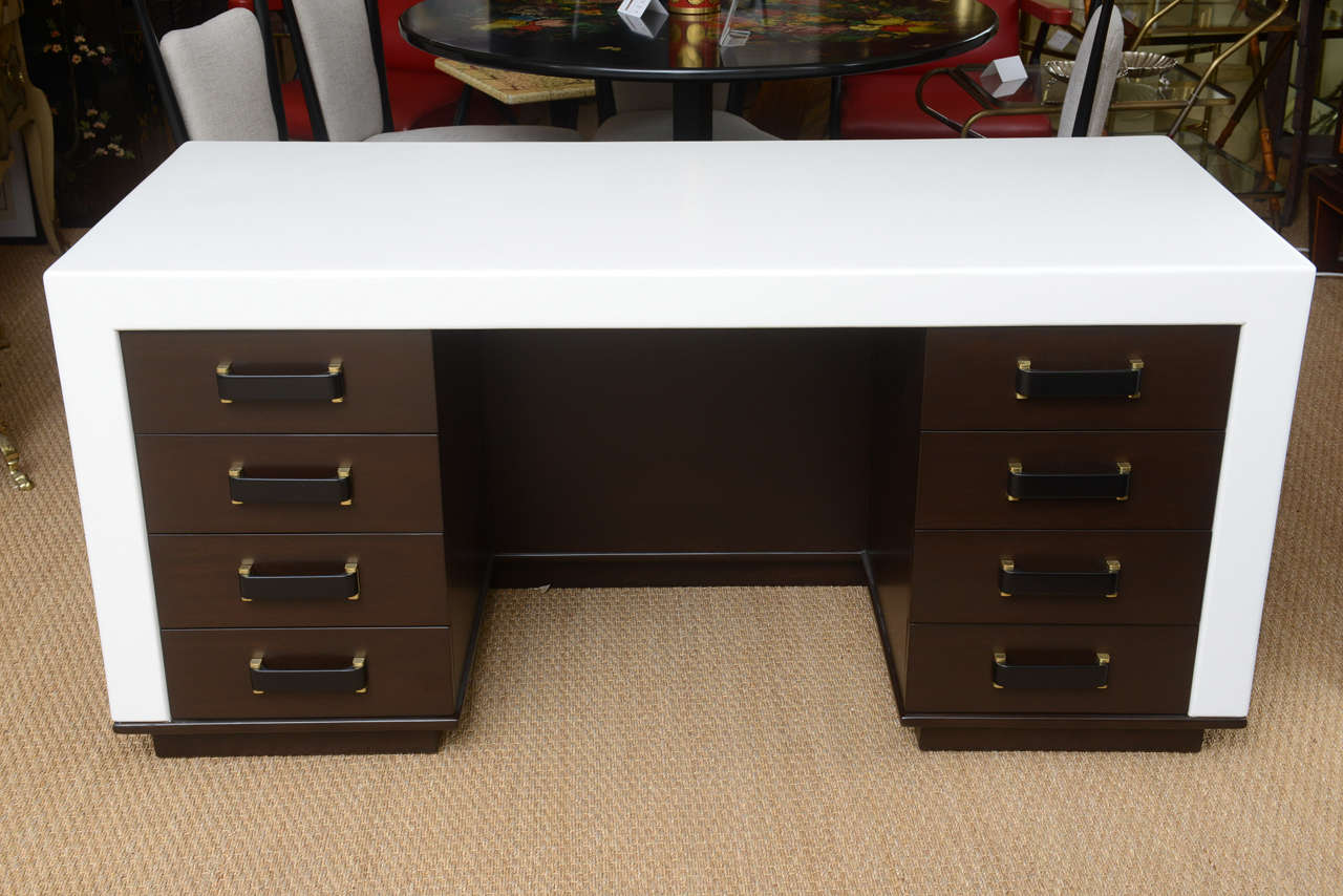 American Paul Frankl Eight-Drawer Desk For Sale