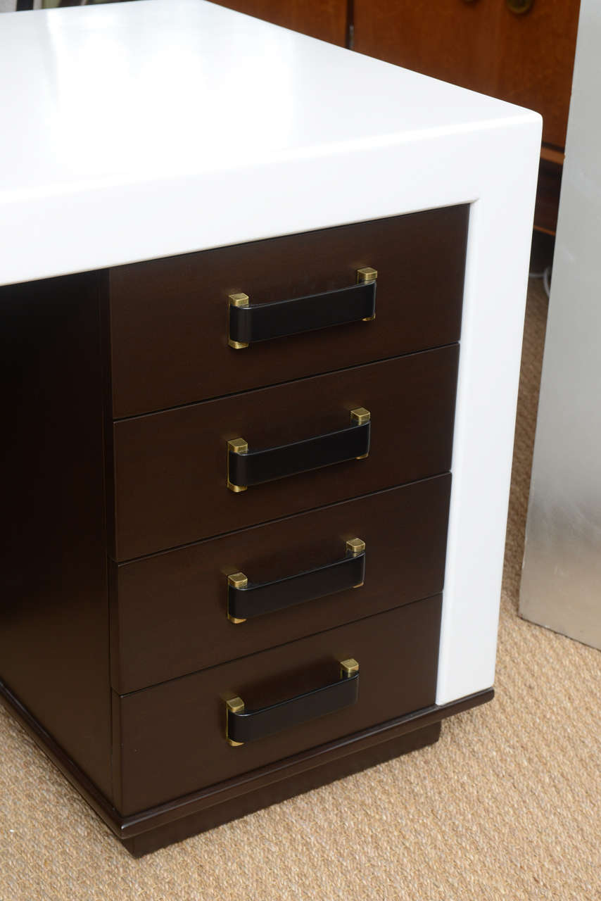 Painted Paul Frankl Eight-Drawer Desk For Sale