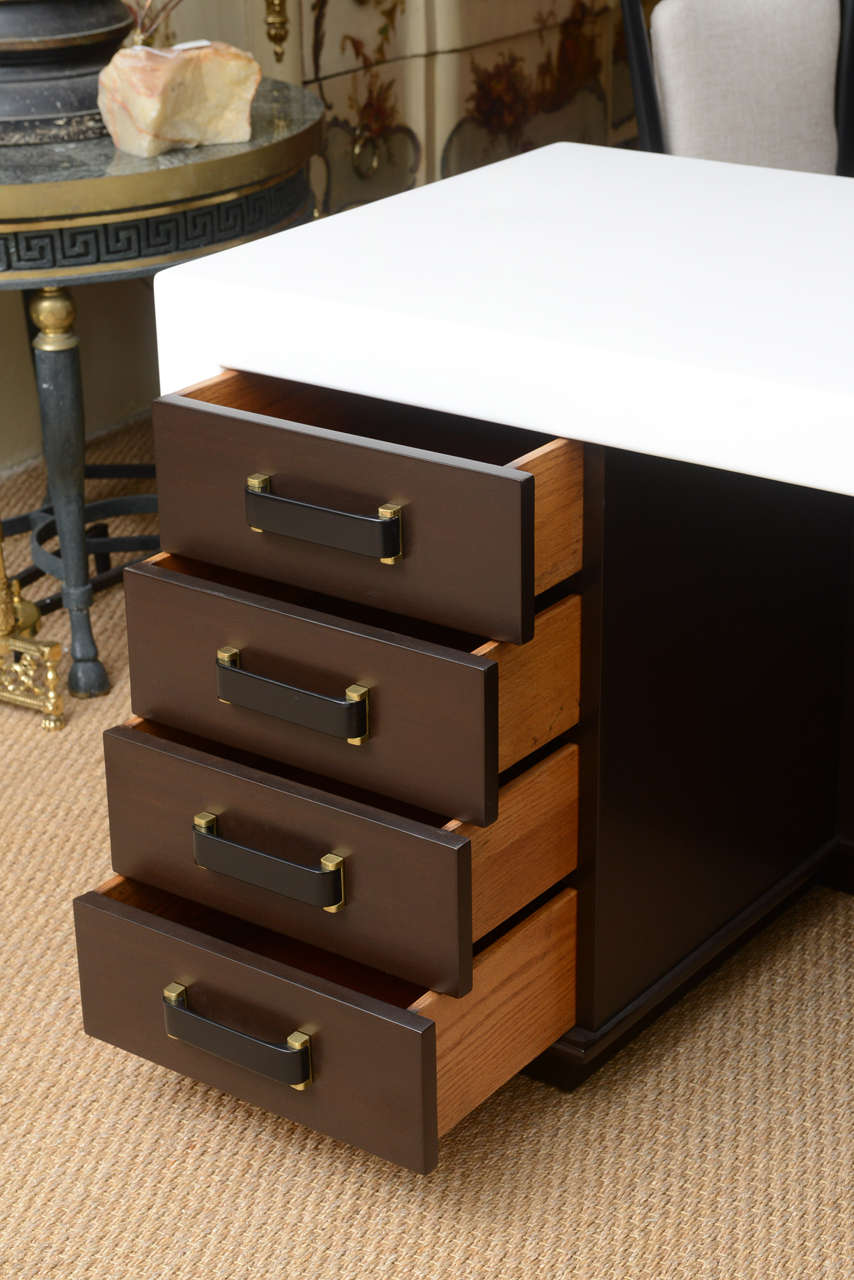 Brass Paul Frankl Eight-Drawer Desk For Sale