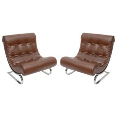 Pair of Forma Nova Club Leather Lounge Chairs