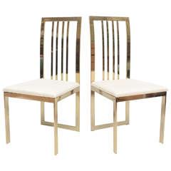Set of Eight Italian Brass Chairs