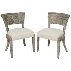 Matte Fishskin Chairs with Linen Upholstery