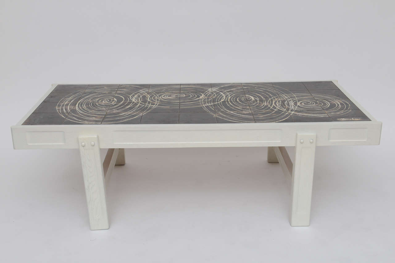 Oak and tile coffee table by juliette belarti at 1stdibs for Tile coffee table
