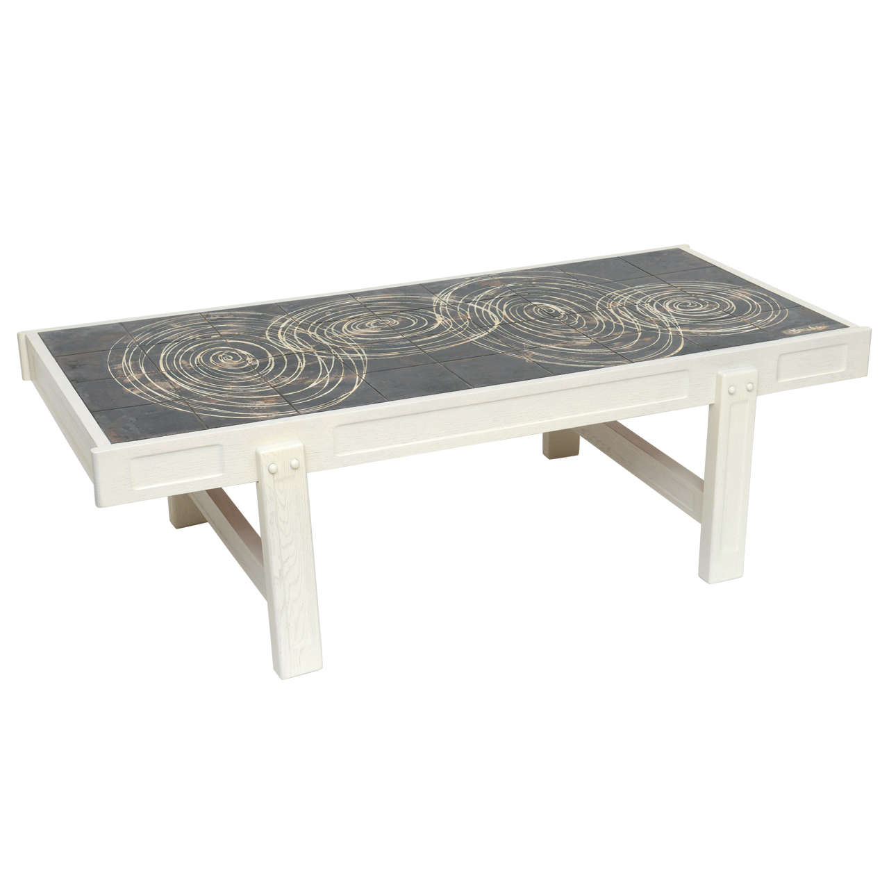 Oak And Tile Coffee Table By Juliette Belarti At 1stdibs