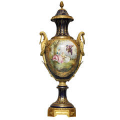 Sèvres Cobalt and Gilt Bronze Covered Porcelain Palace Urn