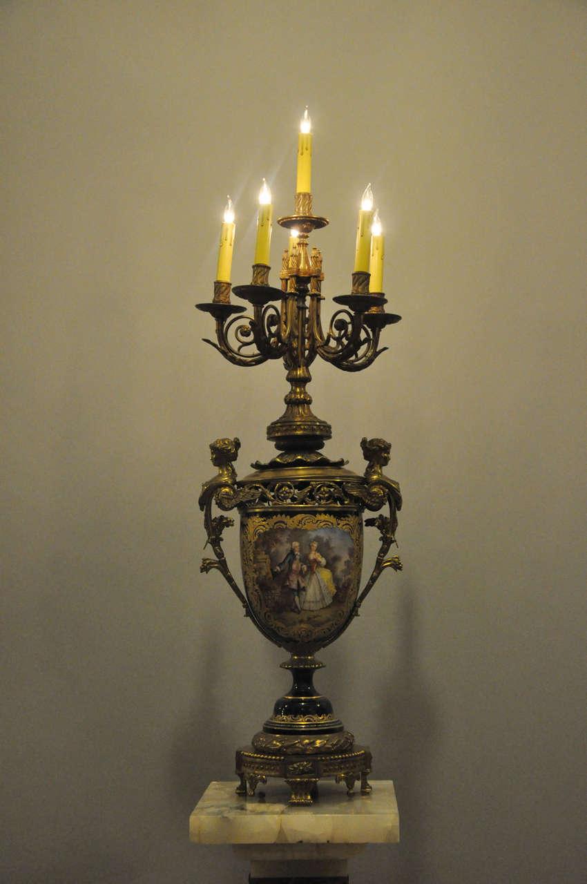 Cast Monumental French Sèvres Cobalt Blue Porcelain Bronze Urn Candelabra Table Lamp For Sale