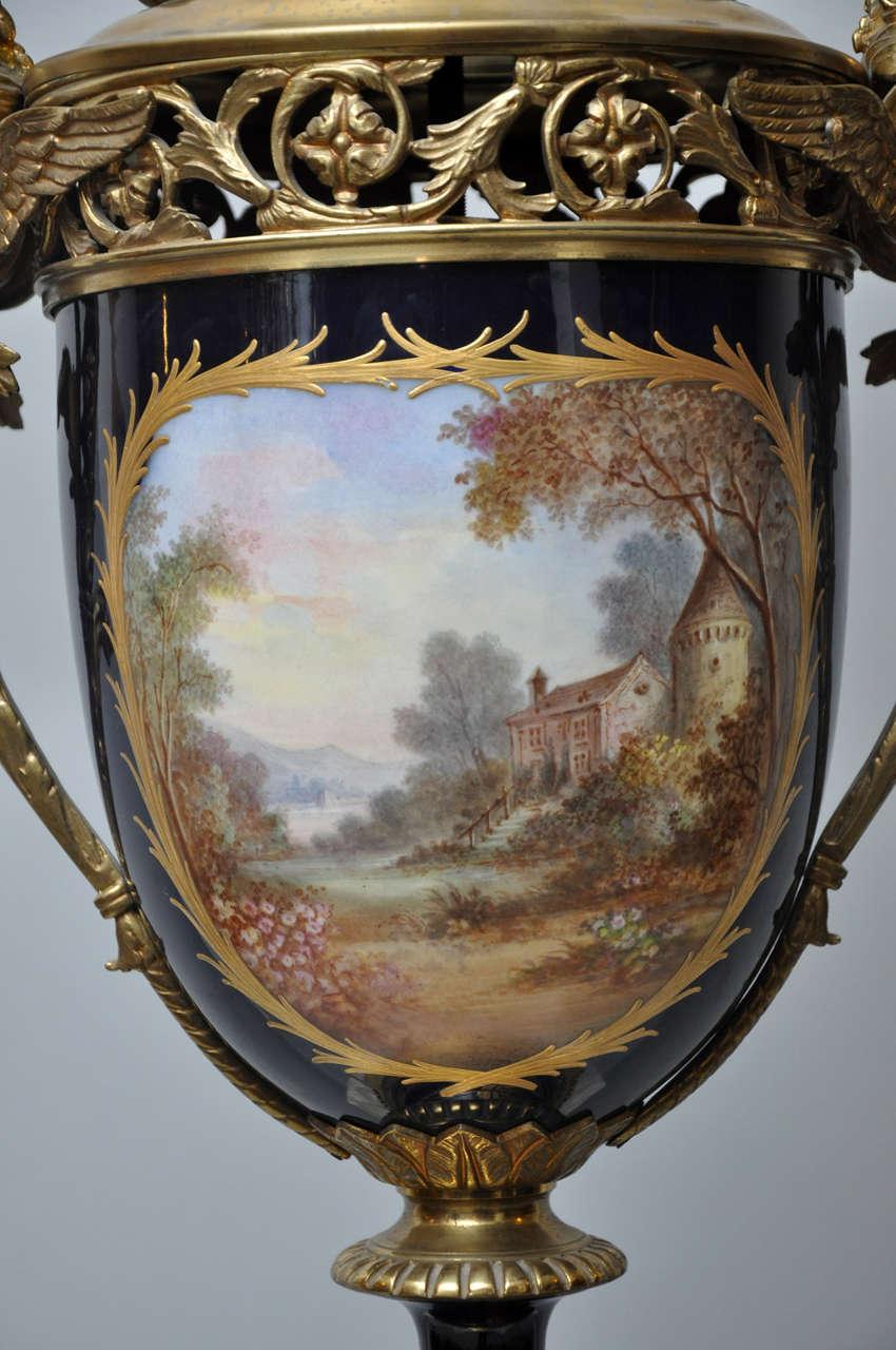Louis XV Monumental French Sèvres Cobalt Blue Porcelain Bronze Urn Candelabra Table Lamp For Sale